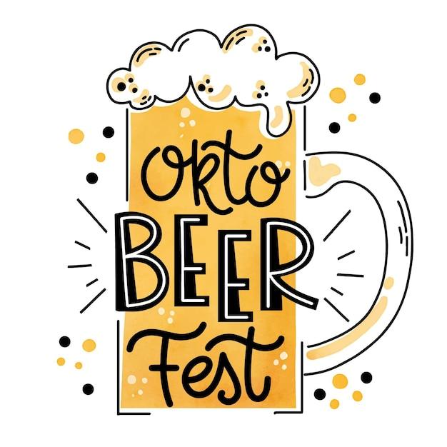 Oktoberfest deliziosa birra con schiuma Vettore gratuito