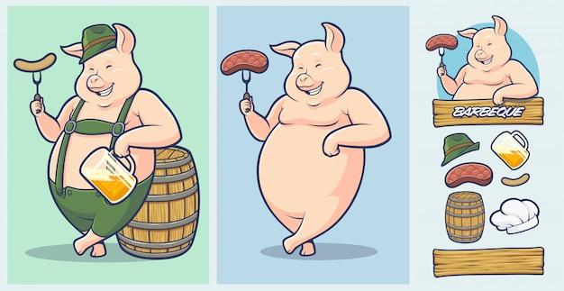 Oktoberfest pig mascot con elementi extra per barbecue e steakhouse. Vettore Premium