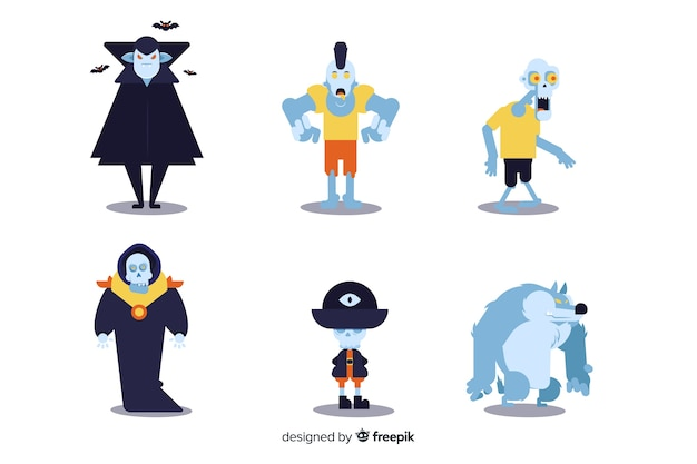 Ollection del personaggio di halloween sul design piatto Vettore gratuito