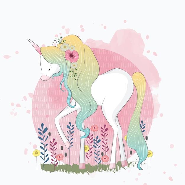 Ombre hair unicorn Vettore Premium