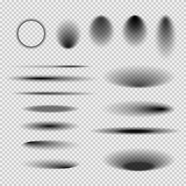 Ombre trasparenti rotonde e quadrate del pavimento isolato. ombra ovale scura e sfumature del cerchio con bordi morbidi Vettore Premium