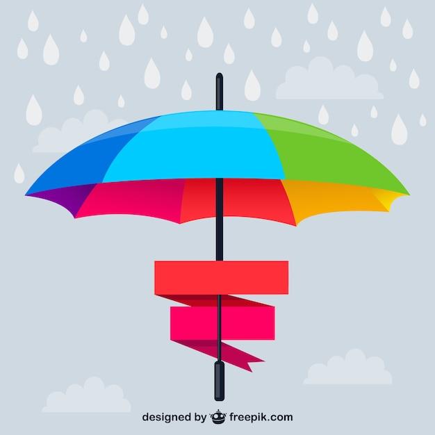 Ombrello arcobaleno banner vector Vettore gratuito