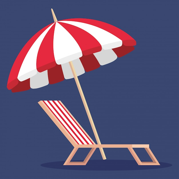 Ombrello con sedia abbronzante al periodo estivo Vettore Premium