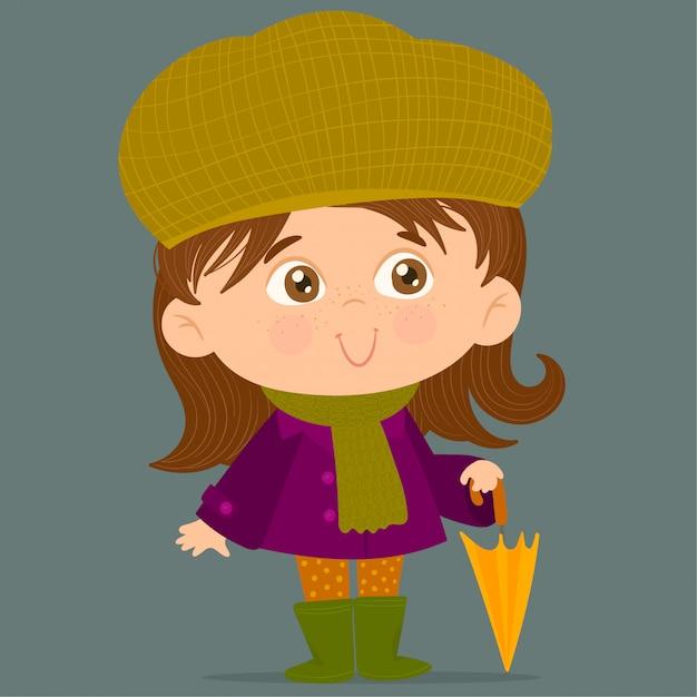 Ombrello della holding della bambina Vettore Premium