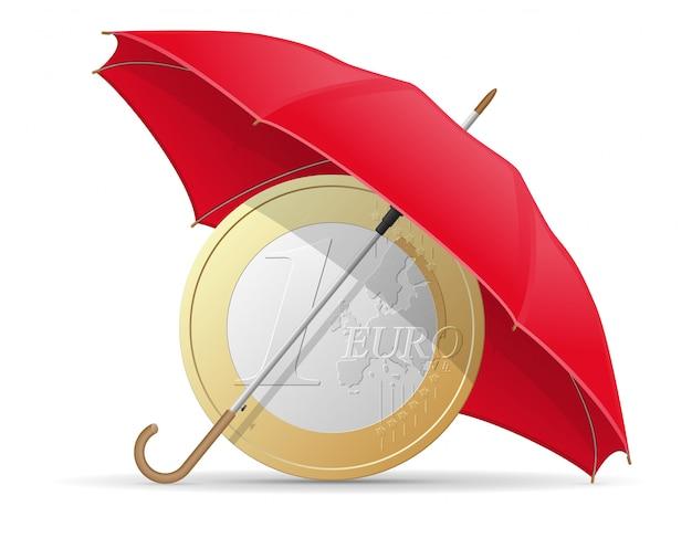 Ombrello di monete euro protette e assicurate Vettore Premium