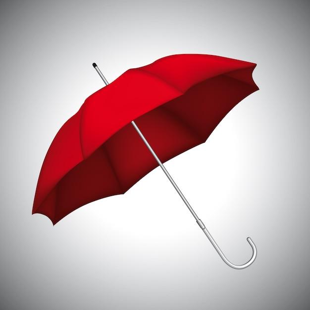 Ombrello rosso Vettore Premium