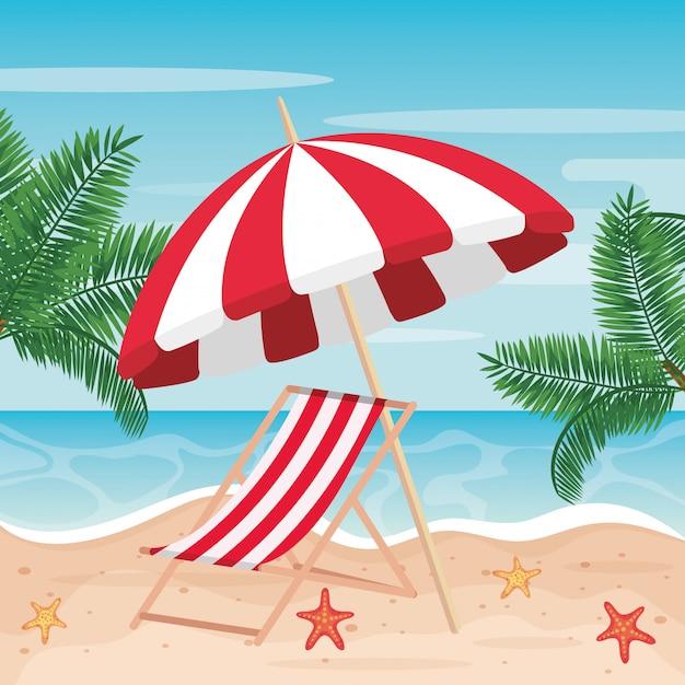 Ombrellone con sdraio e palme in spiaggia Vettore Premium