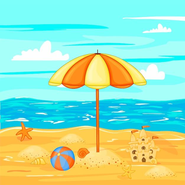 Ombrellone sulla spiaggia di acqua. Vettore Premium