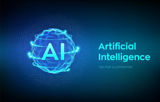 Onda a griglia della sfera con codice binario. logo ai intelligenza artificiale. concetto di apprendimento automatico. Vettore gratuito