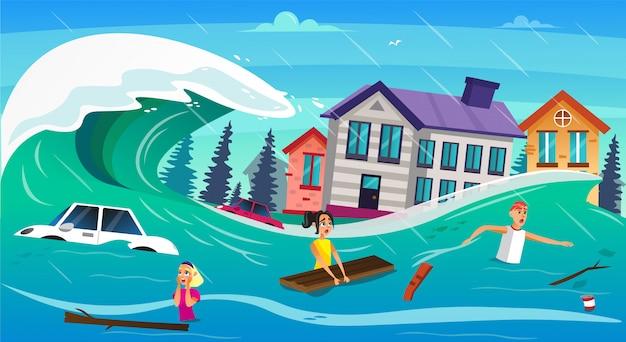 Onda di tsunami di straripamento dell'acqua della gente spaventosa del fumetto Vettore Premium