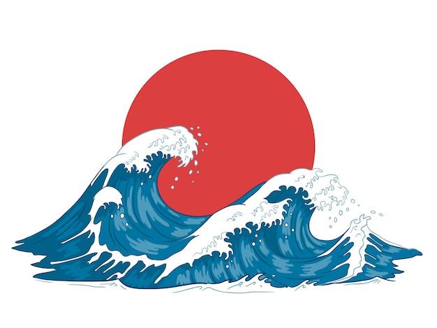 Onda giapponese. grandi onde giapponesi, oceano infuriantesi ed illustrazione d'annata dell'acqua di mare Vettore Premium