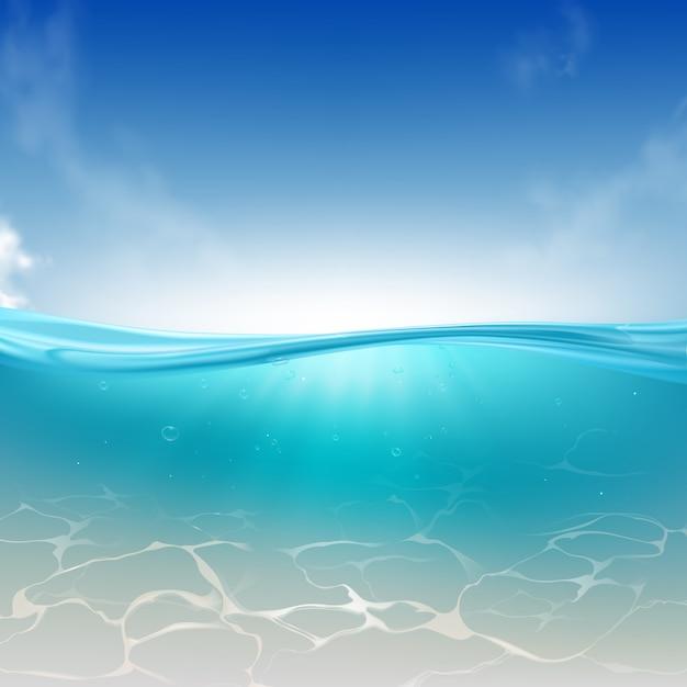 Onda oceanica, colonna di acqua di mare sfondo realistico Vettore gratuito