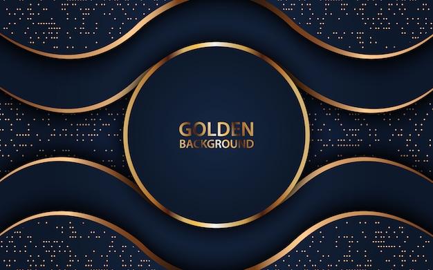 Onda scura si sovrappongono sfondo decorazione realistica con glitter dorati. Vettore Premium