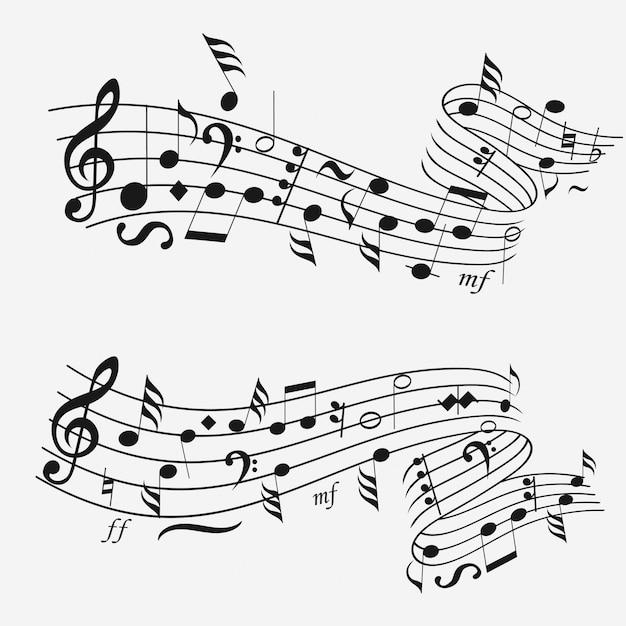 Onda sonora con notazione musicale Vettore Premium