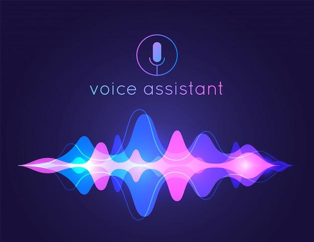 Onda sonora dell'assistente vocale. tecnologia di controllo vocale del microfono, riconoscimento vocale e sonoro. sfondo voce assistente ai Vettore Premium