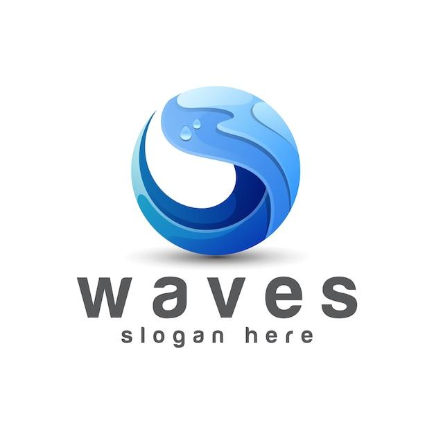 Onde blu gradiente logo, oceano, modello di vettore di progettazione di logo di estate Vettore Premium