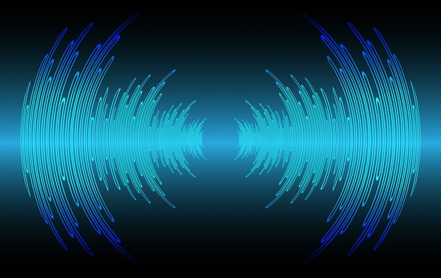 Onde sonore oscillanti luce blu scuro Vettore Premium