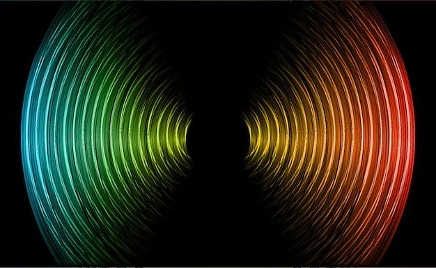Onde sonore oscillanti rosso scuro blu luce nera Vettore Premium