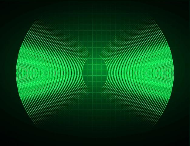 Onde sonore oscillanti sfondo verde scuro chiaro Vettore Premium