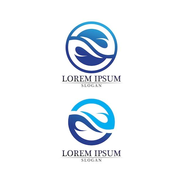 Onde spiaggia logo e simboli modello icone app Vettore Premium