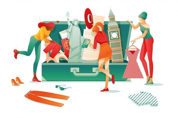 Open suitcase famous world punti di riferimento Vettore Premium