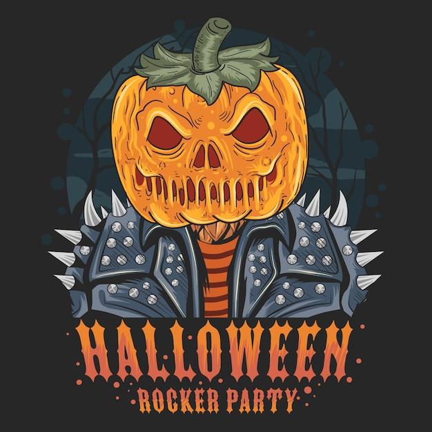 Opera di halloween del rocker della testa di zucca Vettore Premium