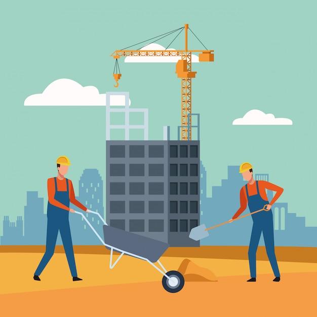 Operai edili nel paesaggio in costruzione Vettore Premium