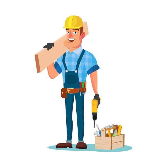 Operaio edile con strumenti Vettore Premium