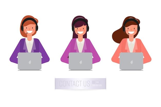 Operatore di call center e servizio clienti. Vettore Premium