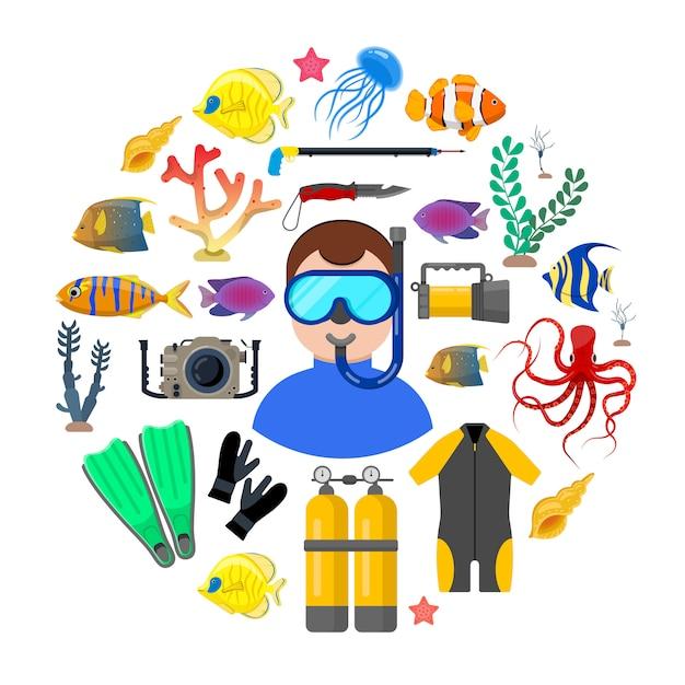 Operatore subacqueo con attrezzatura subacquea Vettore Premium