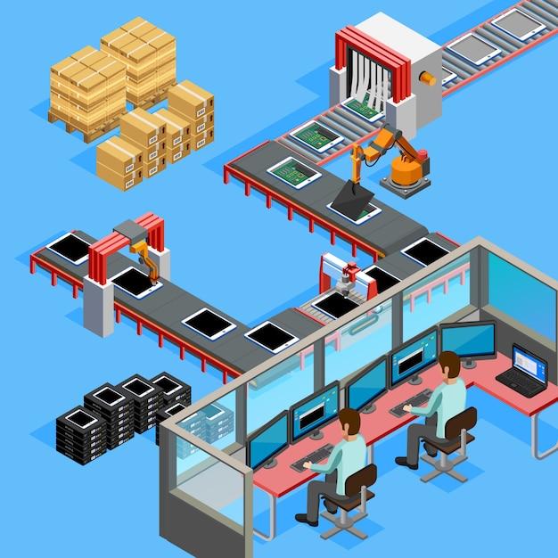 Operatori linea di produzione di trasportatori isometrici Vettore Premium