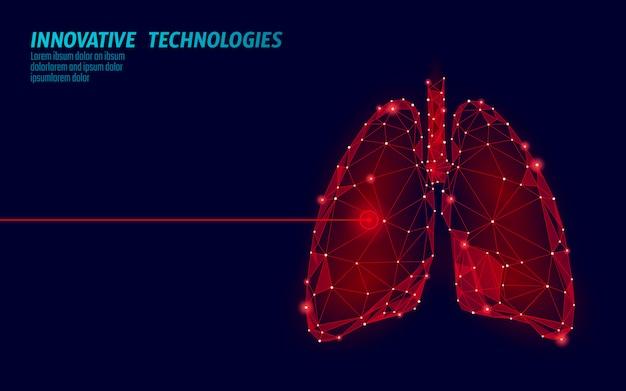 Operazione di chirurgia laser ai polmoni umani bassa poli. area dolorosa di trattamento farmacologico della malattia della medicina. triangoli rossi poligonali 3d render forma. illustrazione del modello del cancro della tubercolosi della farmacia Vettore Premium