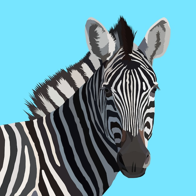 Opere d'arte creativa zebra pop art Vettore Premium
