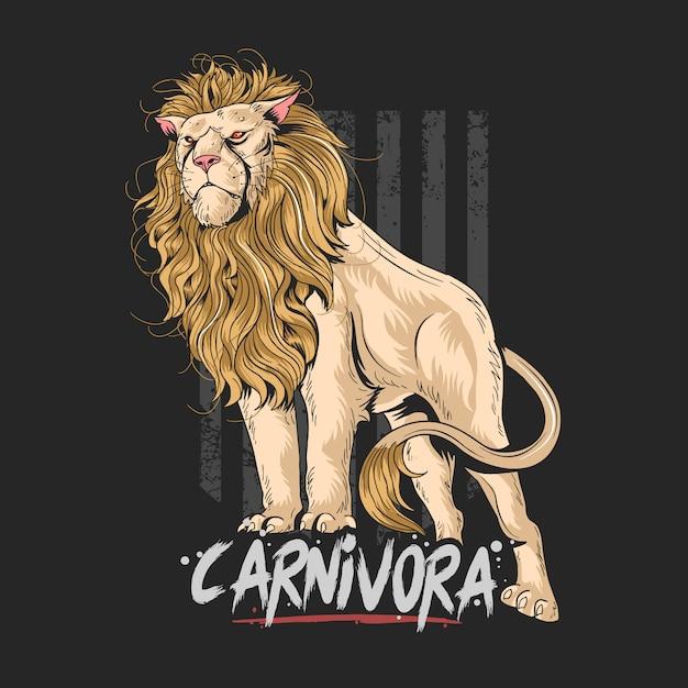 Opere di lion leo carnivora Vettore Premium