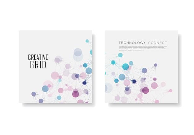 Opuscolo astratto con connessione molecolare e rete tecnologica Vettore Premium