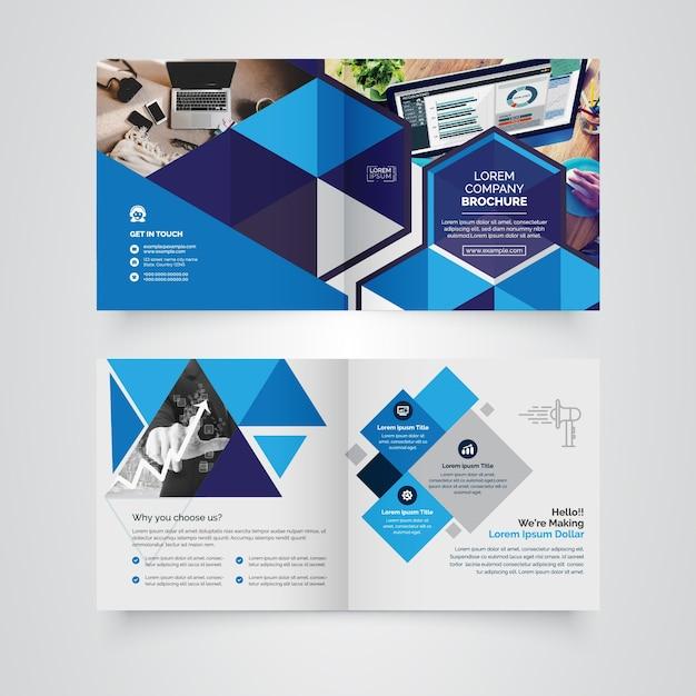 Opuscolo bi-fold quadrato geometrico Vettore Premium