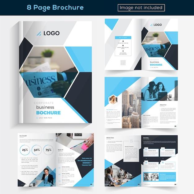 Opuscolo blu 8 pagine design for business Vettore Premium