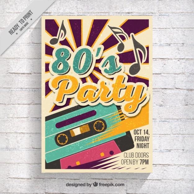 Opuscolo partito anni ottanta con nastro di musica Vettore gratuito