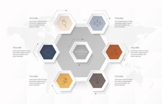 Opzione di esagono 6 infografica o passaggi e icone per il concetto di business. Vettore Premium