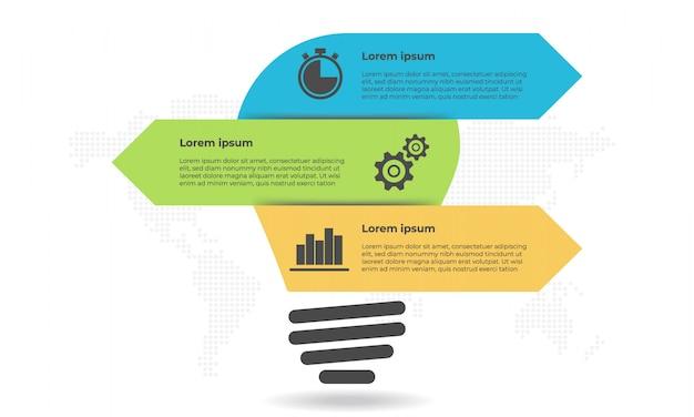 Opzioni 3 di infographic di stile della lampadina e della freccia. Vettore Premium