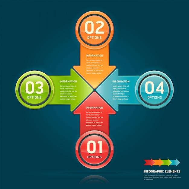 Opzioni di cerchio freccia colorata per layout del flusso di lavoro, diagramma, infografica Vettore Premium