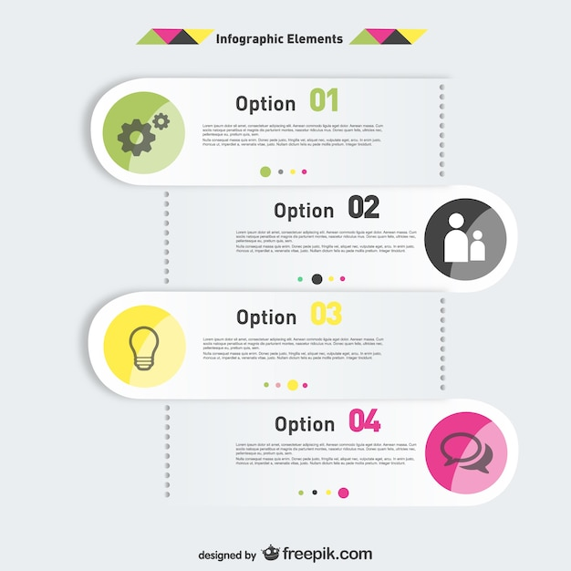 Opzioni di infografica elementi etichette di progettazione Vettore gratuito