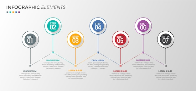 Opzioni di modello di progettazione infografica 7 Vettore Premium