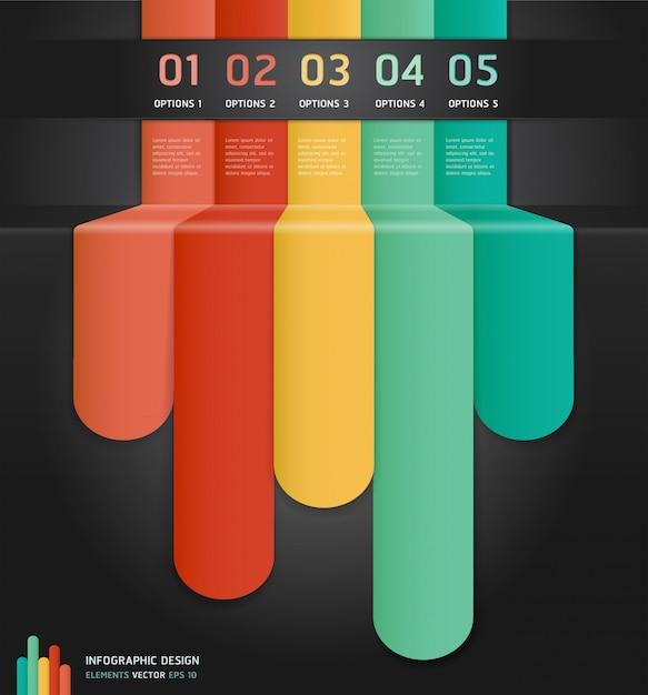 Opzioni di numero infografica colorate banner e carta. Vettore Premium