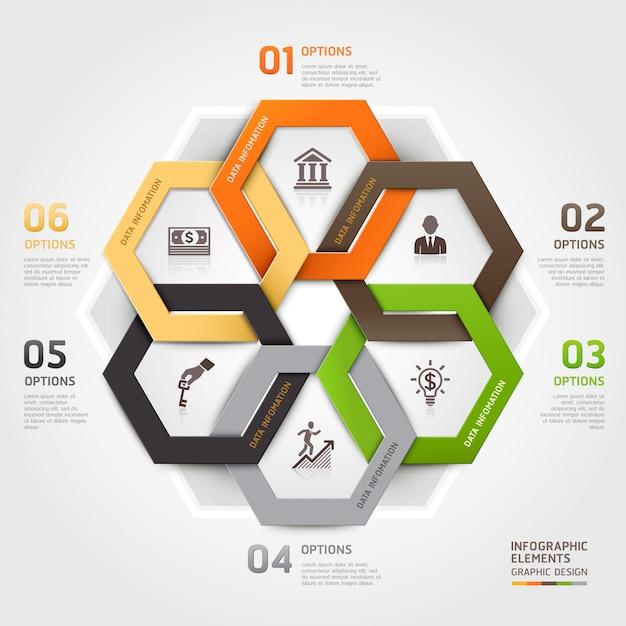 Opzioni di stile di origami del cerchio della gestione aziendale infographic. Vettore Premium