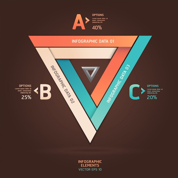 Opzioni di stile origami triangolo infinito moderno. layout del flusso di lavoro, diagramma, opzioni di passaggio, web design, opzioni di numero, infografica. Vettore Premium