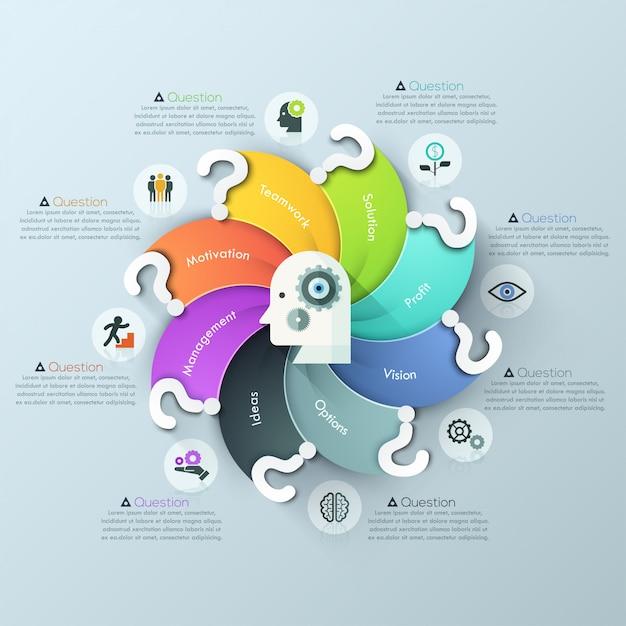 Opzioni moderne di infographics del grafico a spirale di domanda Vettore Premium