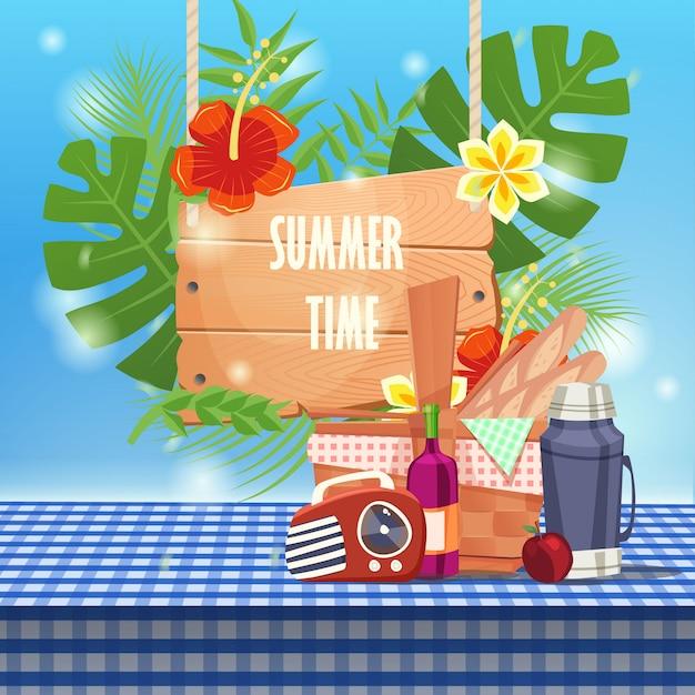 Ora legale con cestino da picnic sulla tovaglia Vettore Premium