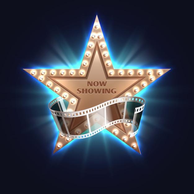 Ora mostrando lo sfondo del film con la stella del cinema di hollywood Vettore Premium
