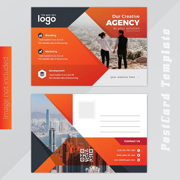 Orange post card design Vettore Premium